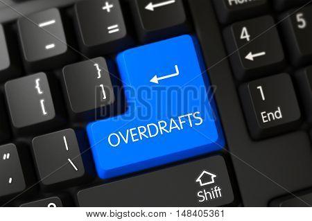 Computer Keyboard Keypad Labeled Overdrafts. 3D Illustration.
