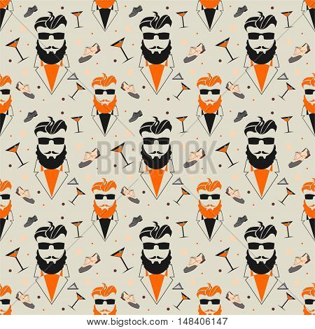 Seamless vector pattern with a bearded man in vintage style