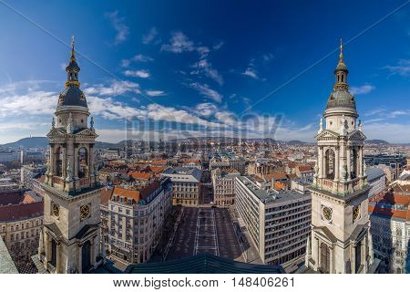 Panoramic view of the Budapest from the dome of the St. Stephen's Basilica. Budapest, Hungary.