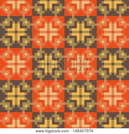 Geometric checkered seamless stitching pattern in desaturated colors. Pixel art. Vector illustration