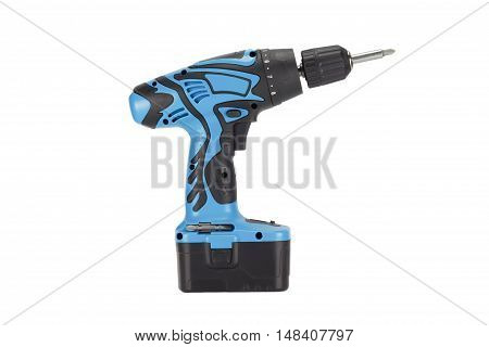 Blue Cordless Drill. Isolated on white background.