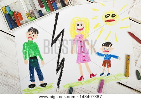 Representation of marriage divorce or break up - colorful drawing