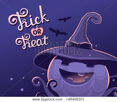 Vector Dark Blue Halloween Illustration Of Decorative Pumpkin In Witch Hat With Eyes, Smile, Teeth,