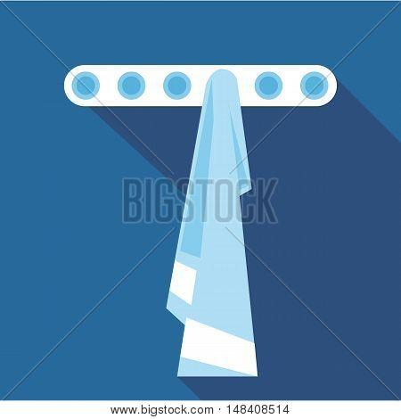 Digital vector blue towel on hanger in bathroom, flat style