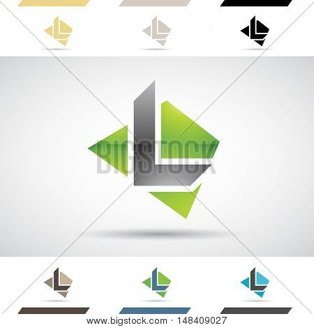 Design Concept of Colorful Stock Icons and Shapes of Letter L, Illustration