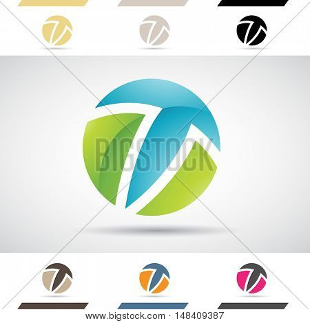 Design Concept of Colorful Stock Icons and Shapes of Letter T, Illustration