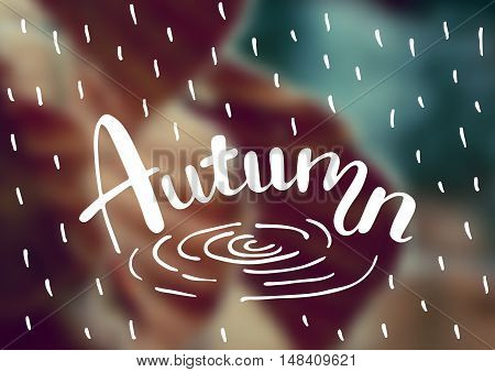 Vector blurred autumn landscape background with typography text Autumn .