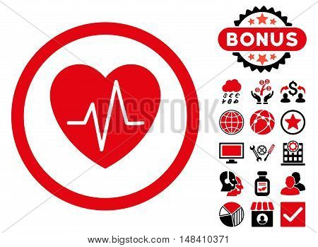 Heart Ekg icon with bonus elements. Vector illustration style is flat iconic bicolor symbols, intensive red and black colors, white background.