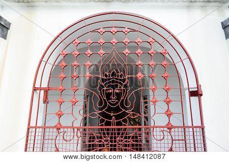Decorations in Loha Prasat Metal Palace in Wat Ratchanaddaram Worawihan Bangkok Thailand.