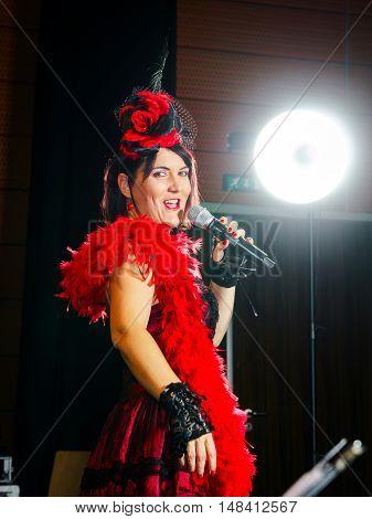 Christel Kern Singing Chanson. Portrait Of French Actress. Scene Shooting.