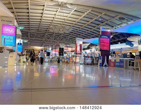 Bangkok Thailand - September 14 2016: Duty free shops at Suvarnabhumi International Airport Bangkok Thailand.
