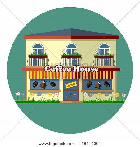 Digital vector coffee house cafe shop with storefront, flowers, windows and beans, flat style