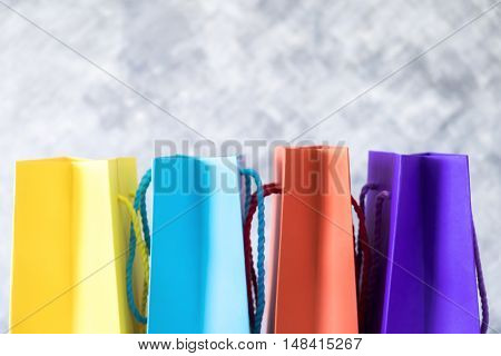 Background of shopping online concept blur colorful shopping bag yellow blue red and purple. Search engine input box or web address bar.