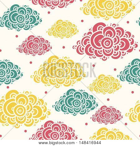 Seamless abstract hand-drawn pattern clouds background. Seamless background with clouds. Vector illustration.