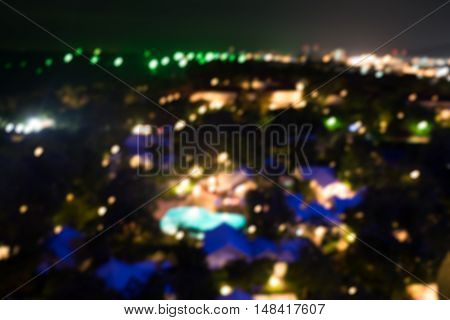 Blured lighhts background from Hua Hin in Thailand