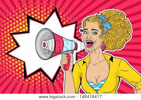 Sexy blonde pop art woman with open mouth and megaphone speaking. Vector background in comic retro pop art style.