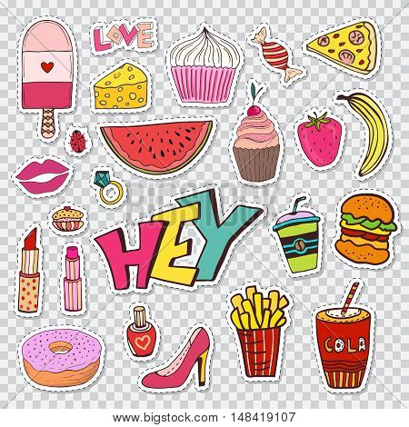 Fashion patches elements with sweets food and girly elements. Vector doodle funny badges. Modern vector clip art. Cartoon stickers in 80s 90s comic trendy style