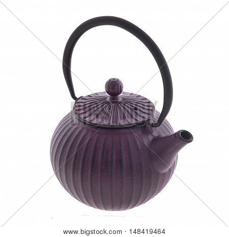 Chinese iron black traditional teapot isolated on white background