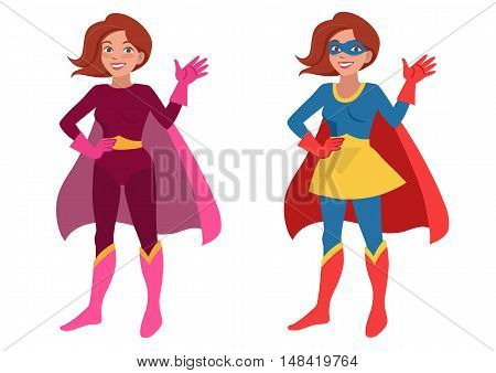 Vector hand drawn cartoon character illustration of a smiling friendly young woman wearing Superhero costume with cape and mask standing with one hand on hip waving hello. Flat contemporary style.