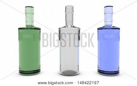 different bottles at the bar 3D rendering