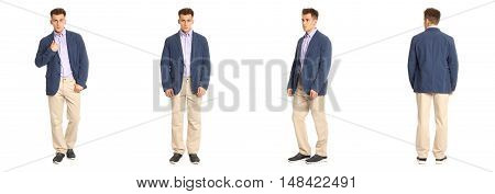 Charming Elegant Man In Blue Jacket Over White Background