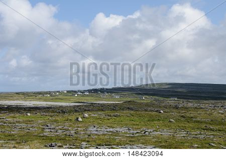 Panoramic image of Inishmore the biggest of Aran Islands Galway Bay Ireland Europe