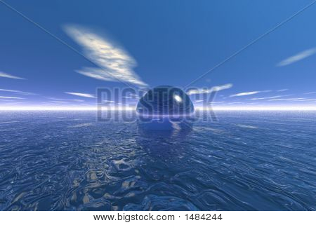 Blue Ocean, Blue Sky, Blue Sphere - Digital Illustration