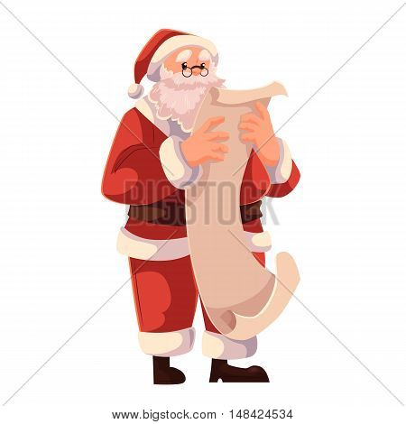 Santa Claus in glasses reading a long scroll of paper, cartoon style vector illustration isolated on white background. Full length portrait of Santa reading a long list, Christmas decoration element