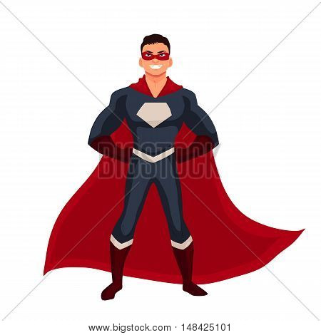 Male superhero cartoon style illustration isolated on white background. man in casual suit and in superhero disguise, super power man. Ordinary person as superhero concept