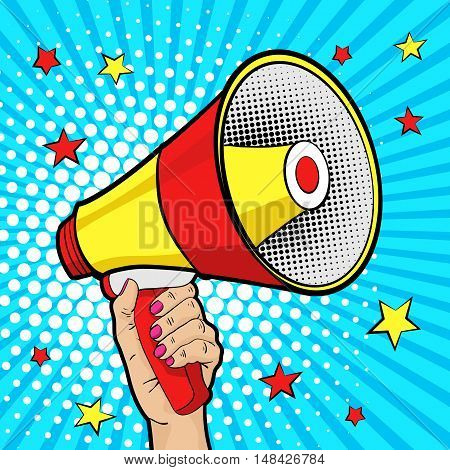 Female hand with megaphone with stars. Vector background in comic retro pop art style.