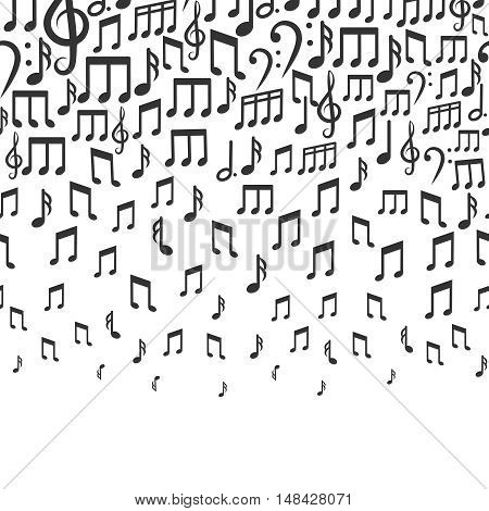 Music vector background with falling musical notes. Rhythm tempo and bass sound illustration