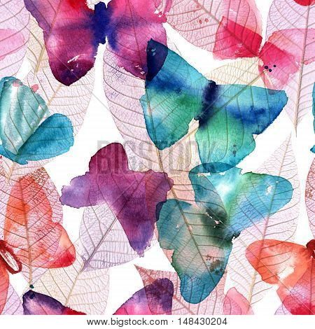 A seamless pattern with freehand watercolour drawings of teal blue, pastel pink, and purple butterflies on faded skeleton leaves. Abstract nature background