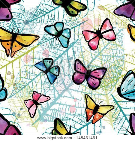 A vector seamless pattern with freehand watercolour drawings of teal blue, pastel pink, and purple butterflies on faded skeleton leaves. Abstract nature background