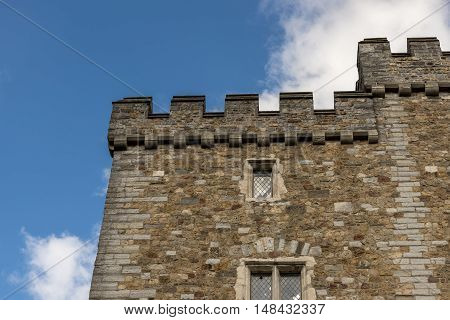 Castle ramparts, against a blue summers sky