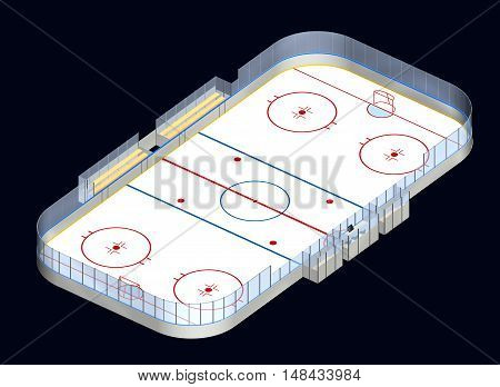 Ice hockey rink detailed 3D illustration isometric view isolated on dark background