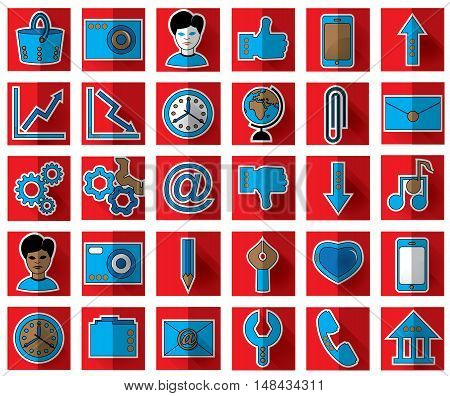 Thirty blue favicon flat icons on a red background for site