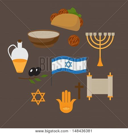 Set of jewish traditional symbols and food israel religios judaism objects in flat style. Jew culture. David star minora and anchovy. Falafel and hummus