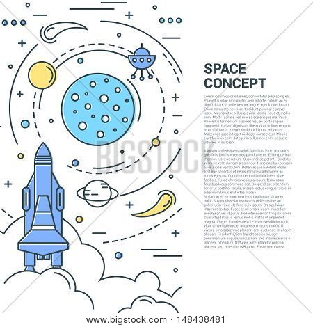 Space vertical line art concept with star and planets comets and asteroids shuttle and satellite vector illustration