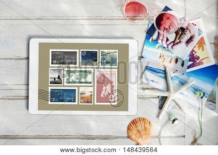 Stamp Post Correspondence Communication Memories Concept poster