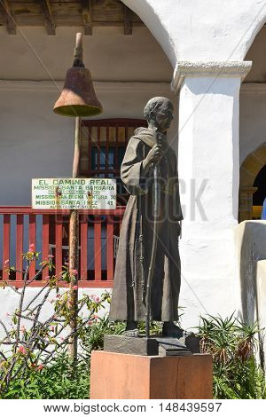 SANTA BARBARA, CALIFORNIA - SEPTEMBER 21, 2016: Junipero Serra Statue at Santa Barbara Mission. Serra was a Catholic friar of the Franciscan Order who founded the first nine of 21 California missions.