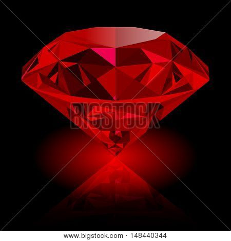 Realistic red ruby with reflection and red glow isolated on black background. Shining red jewel colorful gemstone. Can be used as part of logo icon web decor or other design.