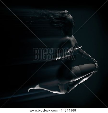 Low key photo of long beautiful sexy female floating in moonlight with montion trails in white stockings and belt hands in gloves against dark background