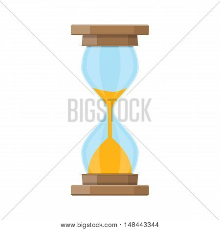 Old style hourglass clocks with sand. hourglass in flat style isolated on white. vector illustration