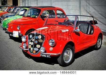 Genova, Liguria, Italy - September 18, 2016: Oktoberfest in Victory Square in Genoa, the first edition of motorsport meeting HBier rally dedicated to Vespas, Lambrettas and Fiat 500. The Vignale Gamine is a small rear-engined car produced by Carrozzeria V