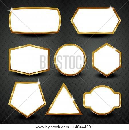Vector gold frames isolated on black background