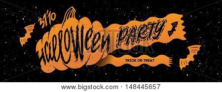 Halloween party. Halloween elements for your design. Silhouette with lettering. Banner for party helloween
