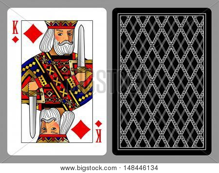 King of Diamonds playing card and the backside background. Colorful original design. Vector illustration