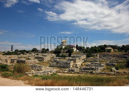 stone ruins of ancient Greek city of Chersonesos in Crimea