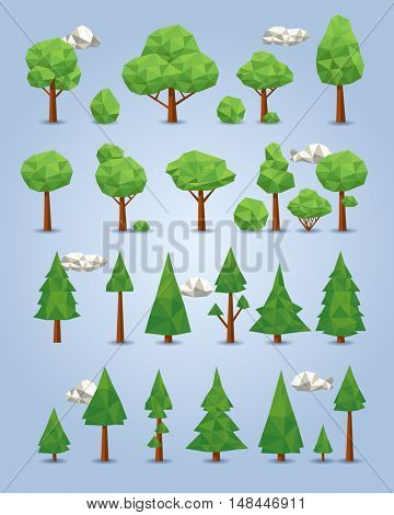 Collection of polygonal trees, clouds, bushes for games, illustrations and other media