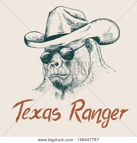 Gorilla like a texas ranger dressed in sheriff hat.Prints design for t-shirts